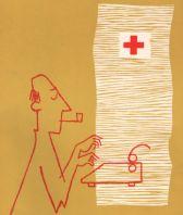 Die Abbildung zeigt eine Illustration im Stil er 50er/60er Jahre. Ein Mann sitzt mit einer Pfeife im Mund vor einer Schreibmaschine. Das Rote Kreuz ist mit abgebildet.